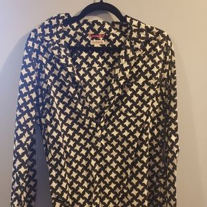 Merona Black & White Pullover Blouse